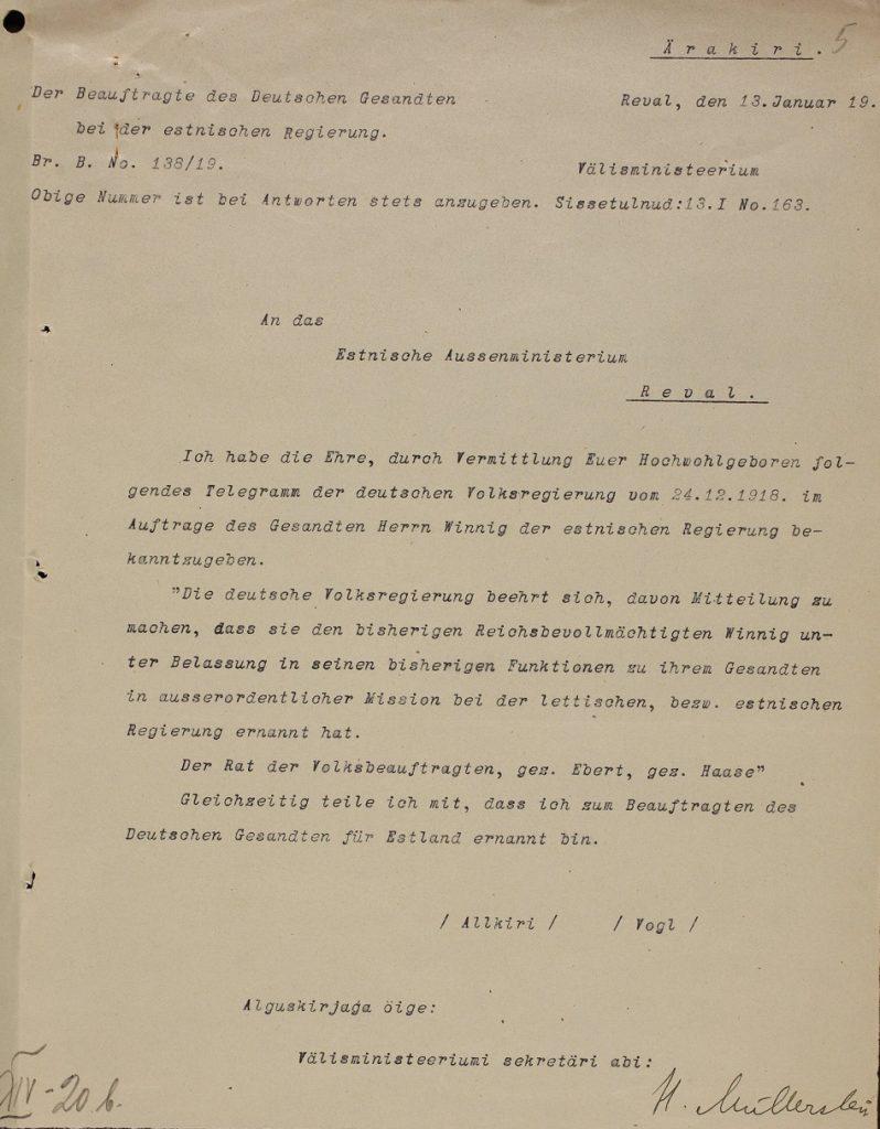 Brief an das estnische Außenministerium über die Ernennung von August Winnig zum Vertreter Deutschlands in Estland und Lettland. Foto: Estnisches Nationalarchiv ERA.957.8.31
