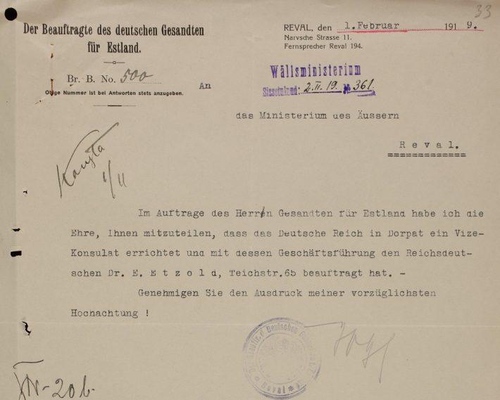 Kiri Eesti välisministeeriumile Ernst Etzoldi nimetamisest asekonsuliks. Foto: Rahvusarhiiv ERA.957.8.31