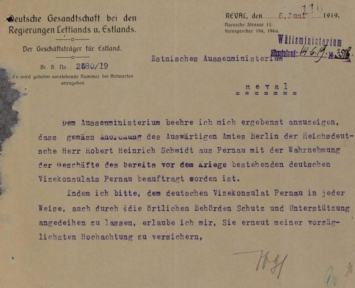 Kiri Eesti välisministeeriumile Robert Schmidti nimetamisest asekonsuliks. Foto: Rahvusarhiiv ERA.957.11.168