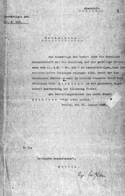 Otto Daentzeri kinnitamine aukonsuliks. Foto: Rahvusarhiiv ERA.957.3.649