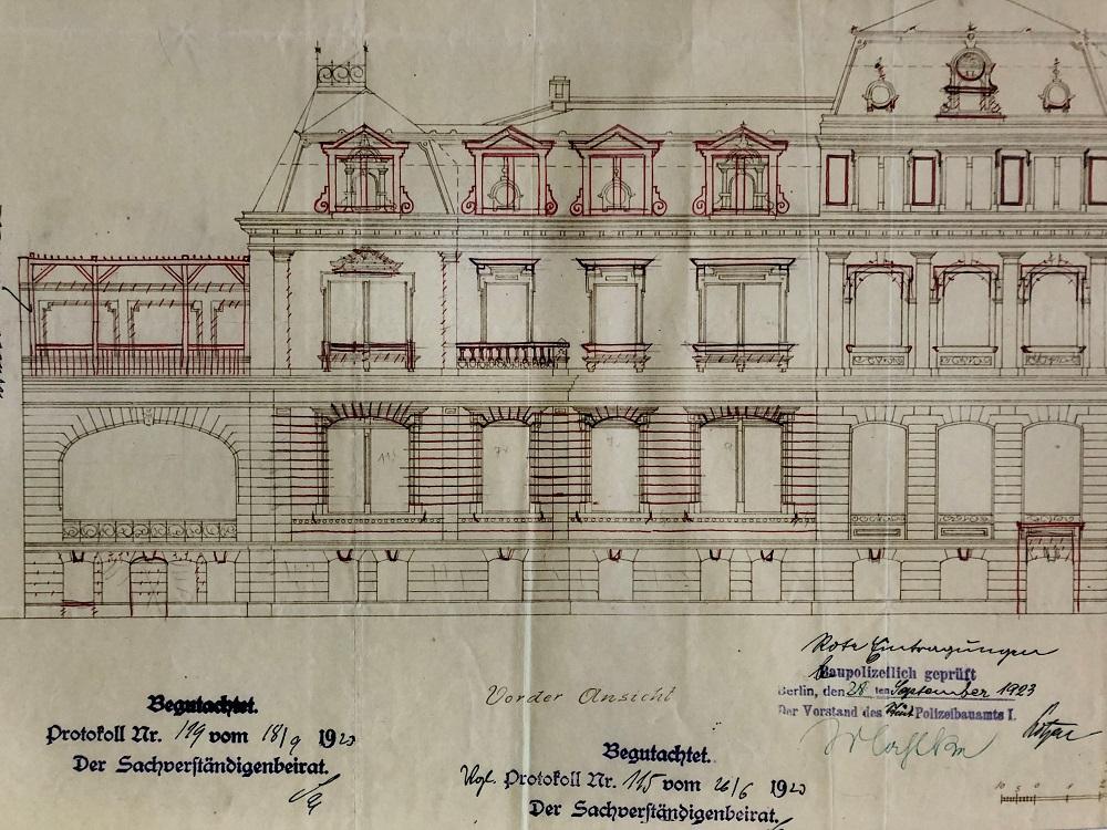 Zeichnung der Fassade des Gebäudes in der Hildebrandstraße 5. Foto: Politisches Archiv des Auswärtigen Amts