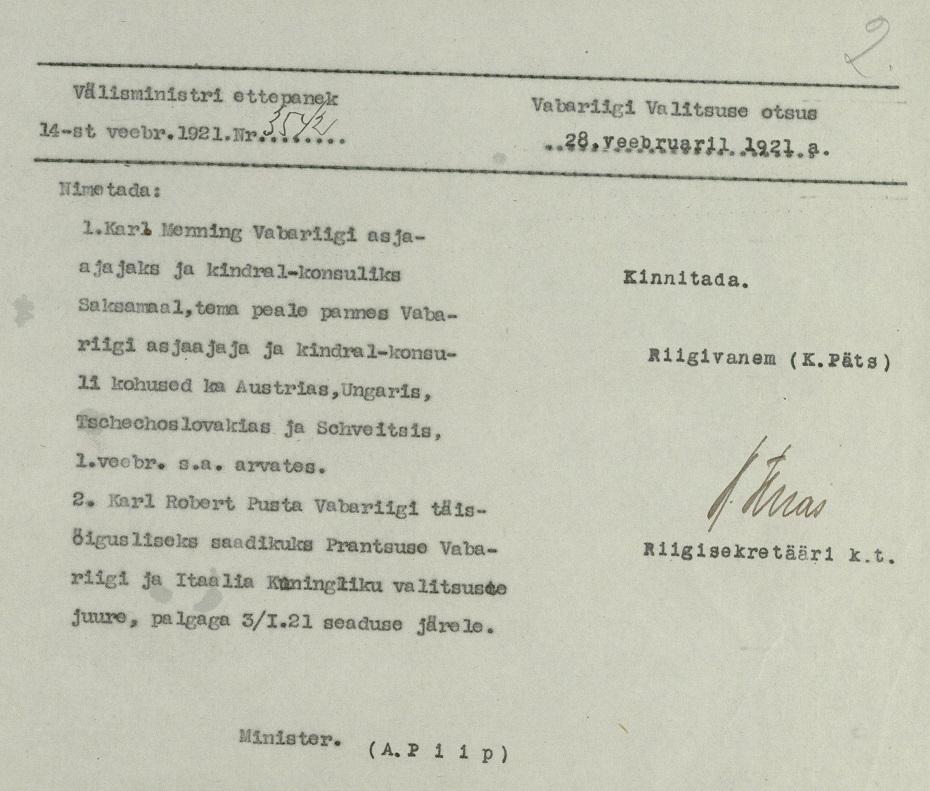 Entscheidung der Regierung, Karl Menning zum Geschäftsträger in Berlin zu ernennen. Foto: Estnisches Nationalarchiv ERA.31.3.13872