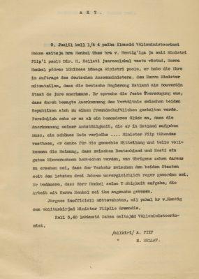 Protokoll Saksa esindaja visiidist. Foto: Rahvusarhiiv ERA.1583.1.523