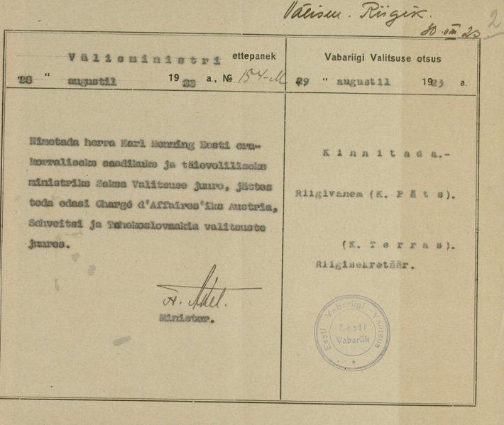 Vabariigi valitsuse otsus Karl Menningu nimetamisest saadikuks Saksamaale. Foto: Rahvusarhiiv ERA.31.3.13873