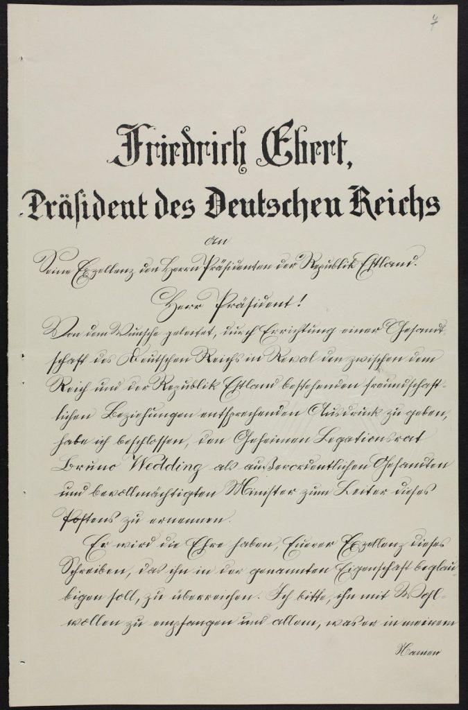 Bruno Weddings Beglaubigungsschreiben. Foto: Estnisches Nationalarchiv ERA.957.7.8