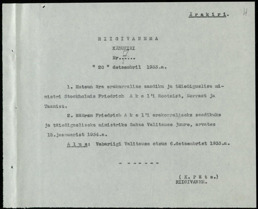 Anweisung des Staatsältesten zur Ernennung Friedrich Akels zum Gesandten in Deutschland