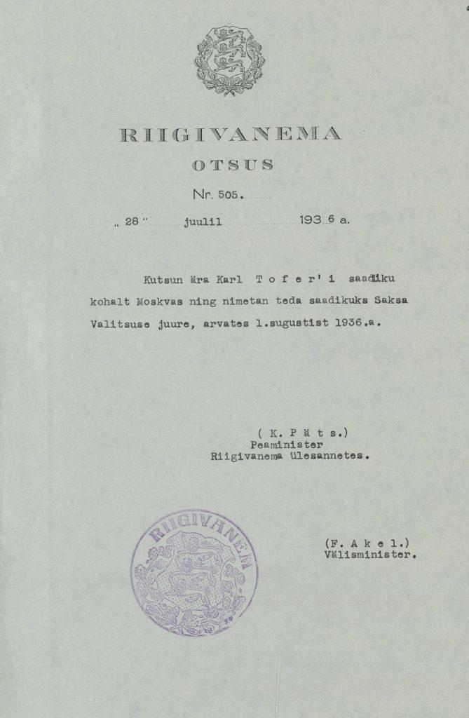 Beschluss des Staatsältesten, Karl Tofer zum Gesandten in Deutschland zu ernennen. Foto: Estnisches Nationalarchiv ERA.31.3.14533