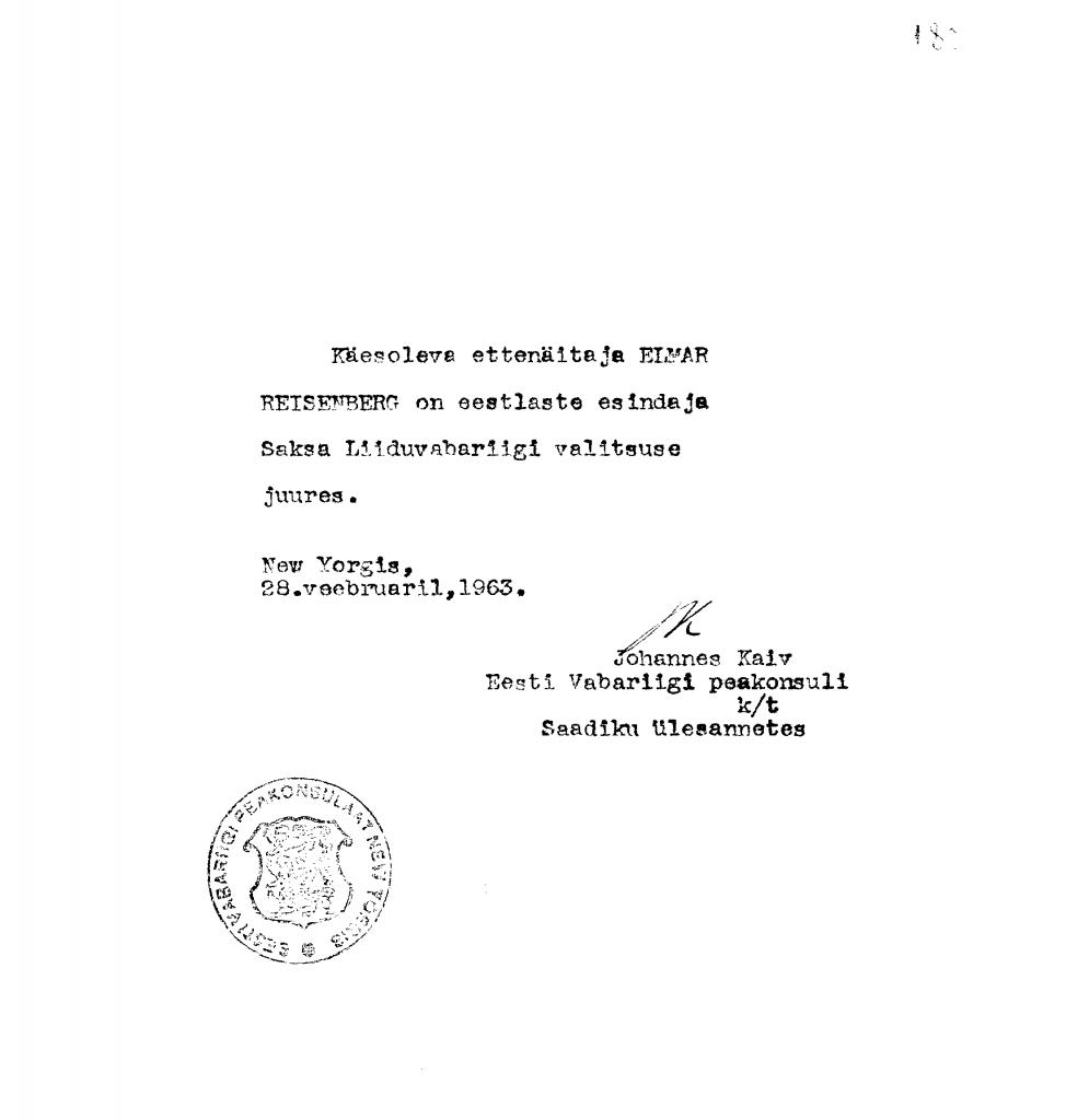 Bestätigungsschreiben an Elmar Reisenberg von Johannes Kaiv, dem estnischen Generalkonsul in der Funktion eines Gesandten in den Vereinigten Staaten. Foto: Estnisches Nationalarchiv ERA.1608.2.202