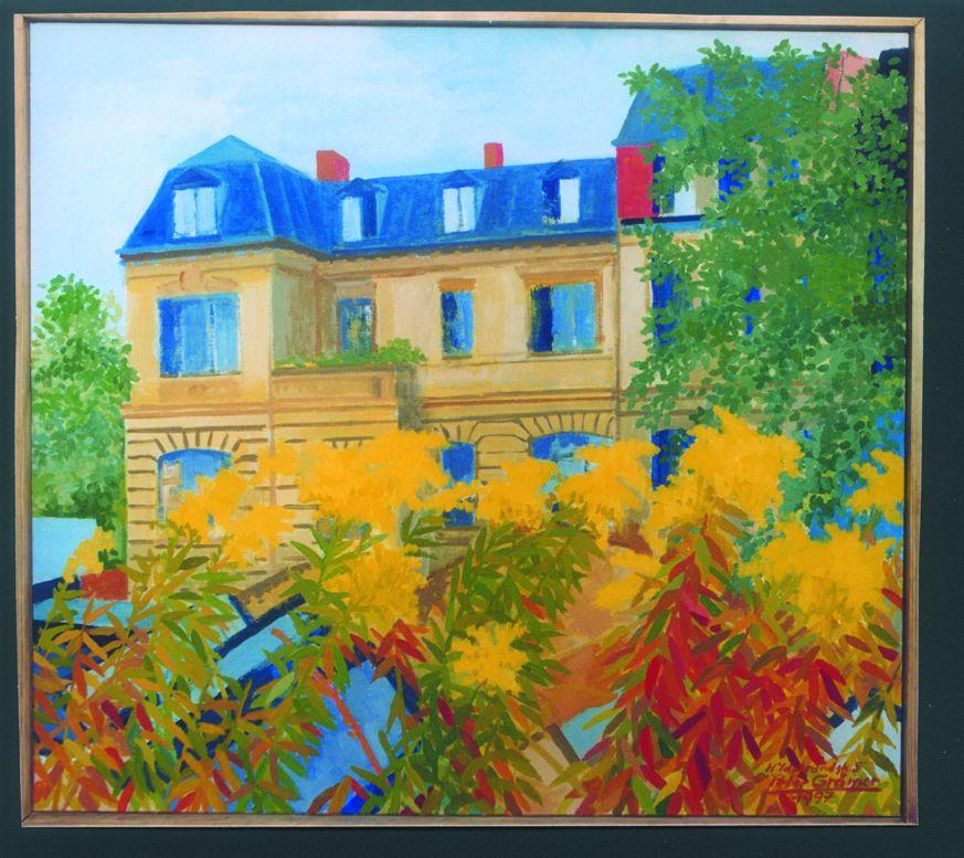 Gemälde des deutschen Künstlers Peter Grämer vom Gebäude in der Hildebrandstraße 5. Foto: Archiv des Außenministeriums, erhalten von Peter Grämer