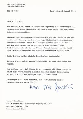 Saksa välisministri Hans-Dietrich Genscheri kiri Eesti välisminister Lennart Merile diplomaatiliste suhete taastamisest 28.08.1991. Foto: välisministeeriumi arhiiv